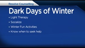 We are in the dark days of winter and Resolve Counselling Services Canada has some tips to get through to the spring.