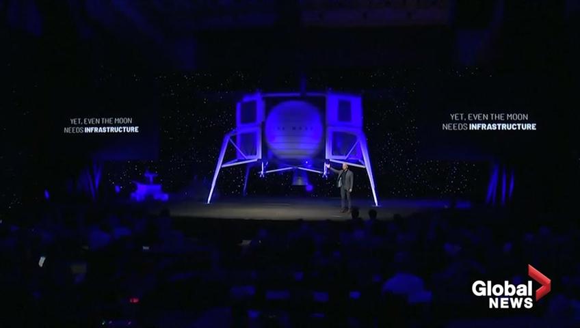 Click to play video 'Jeff Bezos unveils mockup of moon lander 'Blue Moon''