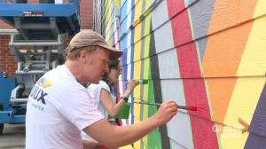 Empty Dartmouth wall converted into brightly coloured mural