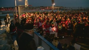 Hundreds rally in support of Humboldt Broncos player Ryan Straschnitzki at Airdrie vigil