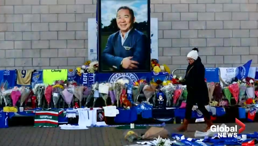 Thai billionaire's family visit Leicester crash site