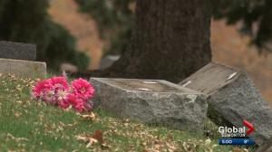 Vandals target dozens of headstones in Edmonton cemetery