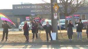 Kingstonians rally against Ford government's proposed cuts to education system