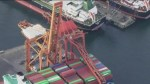 Crane topples at Port of Vancouver