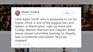 Trump fires back on Twitter at Democrats over Republican memo release
