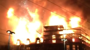 Burning building explodes in Zurich