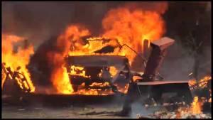 Fire destroys barn near Grafton