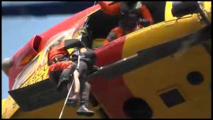 Two people airlifted to safety following a dramatic rescue on Belmont Lake