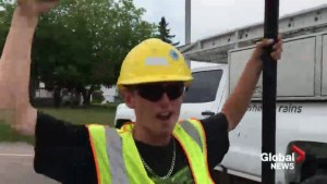 Dieppe construction workers find unique way to cool off