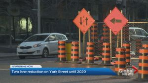 Stretch of York St. down to one lane each way until April 2020