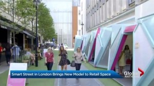 Old world city street on cutting edge of technology