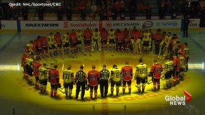 Western NHL teams pay tribute to Humboldt Broncos during pre-game ceremonies