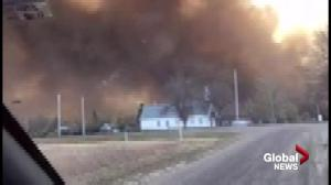 View of wildfire smoke at Burstall, Sask.