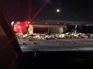 Semi rolls over on Perimeter Highway (00:45)