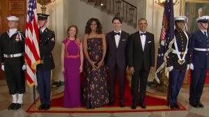 Prime Minister Justin Trudeau, US President Barack Obama arrive for state dinner