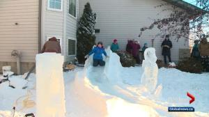 Sherwood Park artist creates cool ice slide in his own front yard