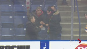 Saskatoon Blades game attendee snipes proposal between plays