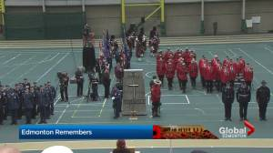 Edmontonians gather at the Butterdome to mark Remembrance Day