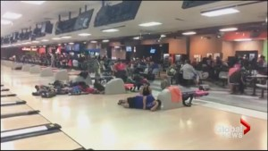 Harvey evacuees forced to sleep on laneways of Texas bowling alley