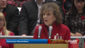 Alberta Lt.-Gov. Lois Mitchell addresses military veterans on Remembrance Day