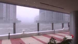 Fierce surf from Hurricane Irma slams into Miami pier