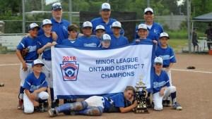 Kingston Colts win Little League Minor baseball district championship
