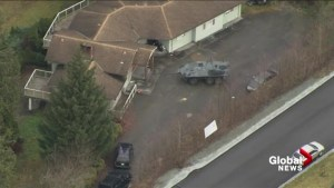 Aerials show armoured vehicle, heavy police presence in Maple Ridge neighbourhood