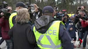 Federal Green Party leader's arrest at Kinder Morgan facility (00:51)