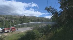 Downed power lines spark fire in Kelowna