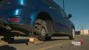 Wheels stolen off SUV parked in north Edmonton parking lot