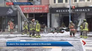 Fire crews battling 4-alarm blaze on Danforth now under control