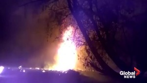 Aerial video shows massive fire after pipeline explodes in Mexico's Hidalgo state