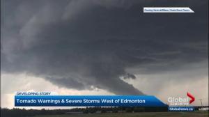 Tornado warning issued in central Alberta