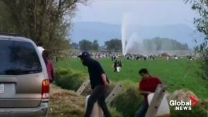 Video shows geyser of fuel spouting dozens of feet into the air in Mexico's Hidalgo state
