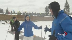 Chris, Kristi and Squire try biathlon