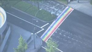 Surrey's Rainbow Pride crosswalk defaced