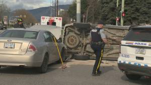 Kelowna MVA Tuesday morning commute rollover (01:22)