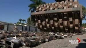 Steamroller destroys thousands of guns in Rio de Janeiro