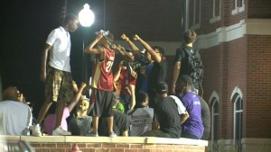 Footage of hundreds gathering for anniversary of the death of Michael Brown Jr.