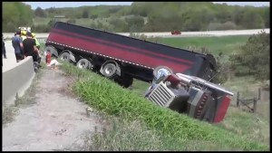 Transport truck crashes on Highway 115 ramp