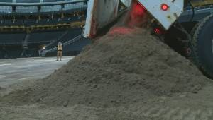 A closer look at the dirt dumped into Rogers Place for the PBR Global Cup