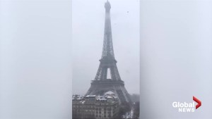 Iconic Paris landmarks blanketed by snow as city faces winter blast