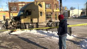Stolen semi truck comes to a crashing stop, after smashing into multiple vehicles