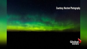Northern lights dance across night sky above Bismarck, North Dakota