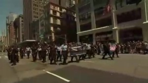 Toronto police marches in New York City Pride parade in uniform