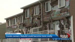 Fort McMurray condo owners worry building's problematic and ongoing rebuild could become even more costly
