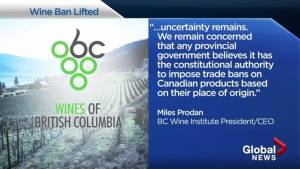B.C. Wine Institute happy ban lifted but still concerned (00:42)