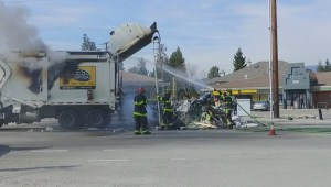 Fire discovered in smoking waste removal truck