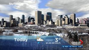 Edmonton early morning weather forecast: Tuesday, February 13, 2018