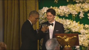 Justin Trudeau toasts Barack Obama during state dinner at White House in his honour